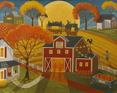 Folk Art Cat Painting - Harvest Party by Mary Charles