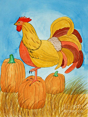Harvest Rooster Art Print by Norma Appleton