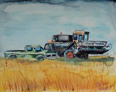 Steam Tractor Painting - Harvest Season by Nichole Lorenzen