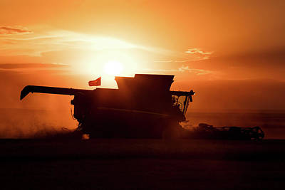 Combine Harvester Photograph - Harvest Silhouette by Todd Klassy