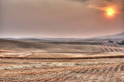 Photograph - Harvest Sunset 7147 by Jerry Sodorff