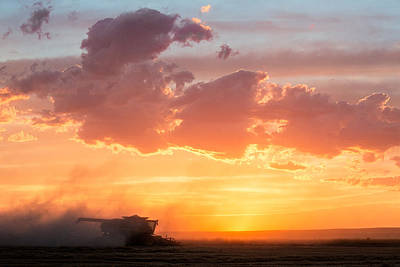 Wheat Silhouette Photograph - Harvest Sunset by Todd Klassy