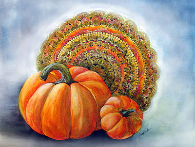 Autumn Mandala Painting - Harvest by Susy Soulies