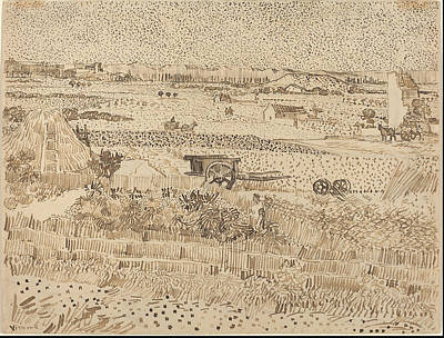 Bookmarks Wall Art - Painting - Harvest--the Plain Of La Crau 1888 by Vincent Van Gogh