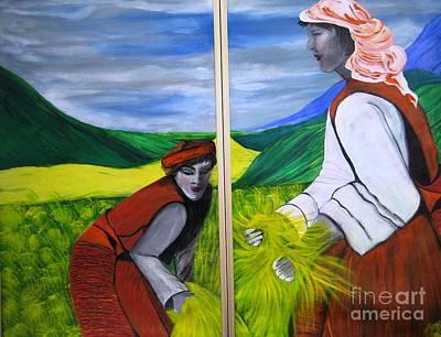 Bhutan Painting - Harvest Time In Bhutan by Duygu Kivanc