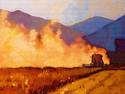 Mountains Painting - Harvest Time by Robert Bissett