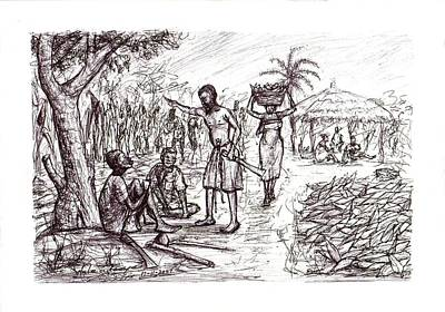 Drawing - Harvest Time  by Wale Adeoye