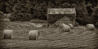 Photograph - Harvested Hay Bales And Shed Dsc05938 by Greg Kluempers