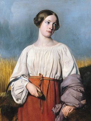 Shepherdess Painting - Harvester Holding Her Sickle by AJB Hesse