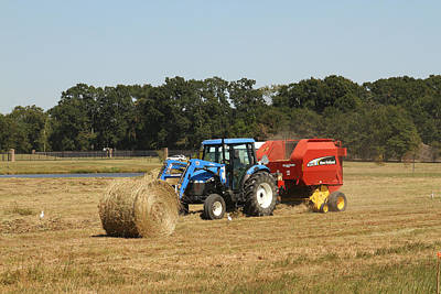 Photograph - Harvesting Hay In Roung Bails by Ronald Olivier