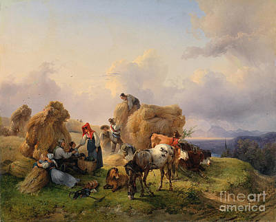 Donkey Painting - Harvesting In The Foothills Of The Alps by Celestial Images