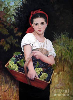 Harvesting The Grapes Art Print by Sandra Nardone