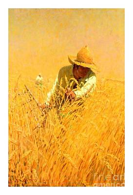 Painting - Harvesting The Wheat 1908 Harvey T Dunn by Peter Gumaer Ogden