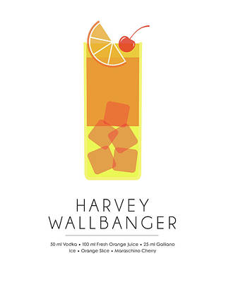 Champagne Mixed Media - Harvey Wallbanger Classic Cocktail - Minimalist Print by Studio Grafiikka