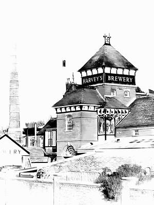 Photograph - Harveys Brewery Main Building Lewes Black And White by Dorothy Berry-Lound