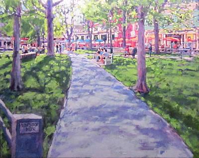 Gaslight Painting - Harvard Square Winthrop Park Seasons Spring by Sean Moore