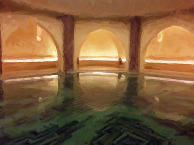Communal Painting - Hassan II Mosque Bath Pool Morocco by Carrie Kouri