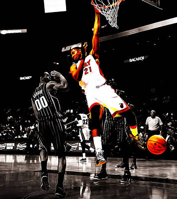 Dwyane Wade Mixed Media - Hassan Whiteside by Brian Reaves