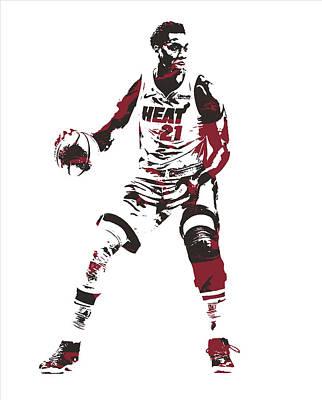 Miami Heat Mixed Media - Hassan Whiteside Miami Heat Pixel Art 10 by Joe Hamilton