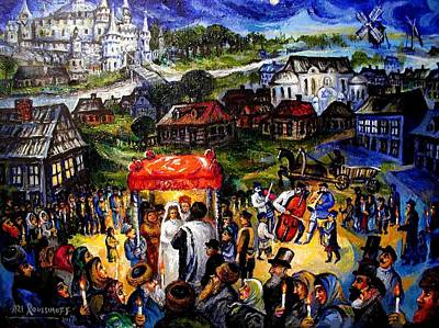 Painting - Hassidic Shtetl Wedding In Ukraine by Ari Roussimoff