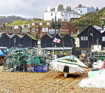 Photograph - Hastings Net Lofts And Fishing Pots by Terri Waters