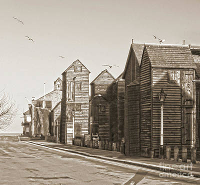 Photograph - Hastings Net Lofts In Sepia by Terri Waters