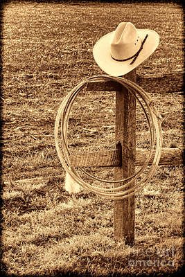 Hat And Lariat On A Post Art Print
