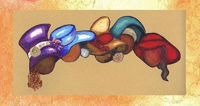 Art Print featuring the mixed media Hat Ladies by Alga Washington