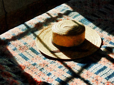 Quilt Photograph - Hat On Bed by Susan Savad