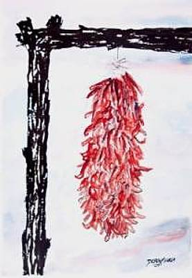 Watercolor Painting - Hatch Texas Chili Pepper Painting by Derek Mccrea