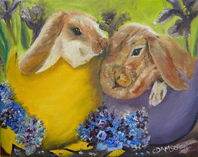 Painting - Hatched Bunnies by Cheryl Damschen