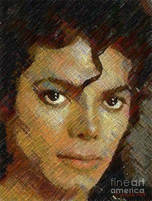 Hatched Portrait Of Michael Jackson Art Print by Dragica Micki Fortuna