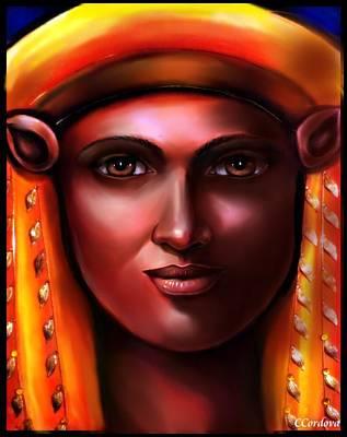 Hathor -egyptian Goddess Art Print by Carmen Cordova