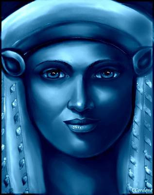 Spiritual Portrait Of Woman Digital Art - Hathor -the Goddess 2 by Carmen Cordova