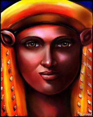Spiritual Portrait Of Woman Digital Art - Hathor- The Goddess by Carmen Cordova