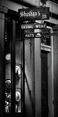 Photograph - Hats In A Window Black And White by Chrystal Mimbs