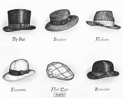 Classic Drawing Drawing - Hats Of A Gentleman by Adam Zebediah Joseph