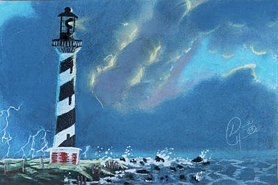 Dave Hancock Pastel - Hatteras  Lighthouse In A Storm by Dave Hancock