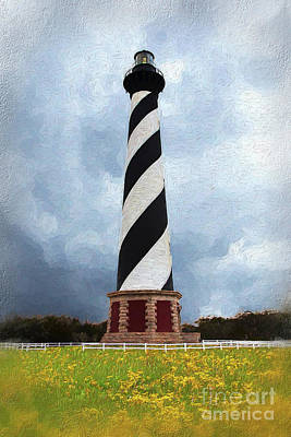 Painting - Hatteras Lighthouse Outer Banks On A Stormy Cloudy Day Ap by Dan Carmichael