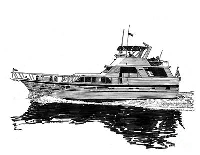 Drawing - 58 Foot Hatteras Tri Cabin Motoryacht by Jack Pumphrey