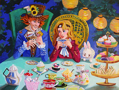 Teapot Painting - Hatter's Tea Party by Christina Siravo