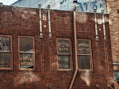 Historic Architecture Photograph - Hatters Window Signs by Buck Buchanan