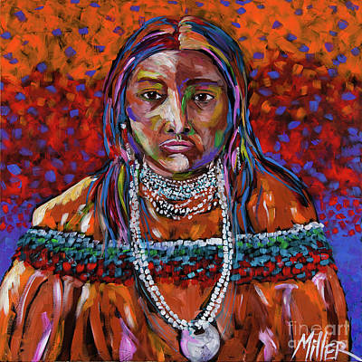Indian Contemporary Artist Painting - Hattie Tom by Tracy Miller