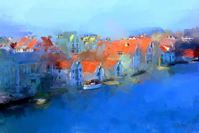 Haugesund Harbour Norway Art Print by Michael Greenaway