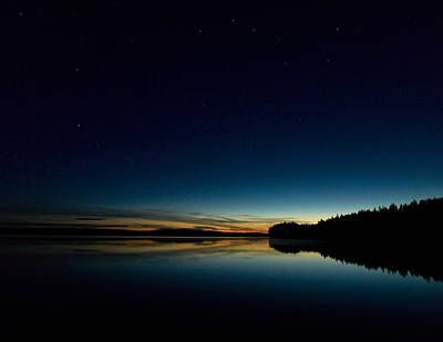 Print featuring the photograph Haukkajarvi By Night With Ursa Major 1 by Jouko Lehto