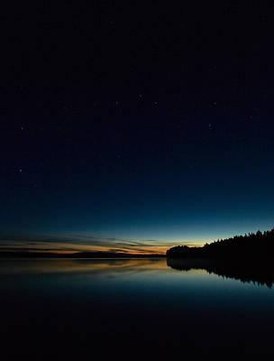 Print featuring the photograph Haukkajarvi By Night With Ursa Major 2 by Jouko Lehto