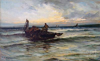 Net Painting - Hauling In The Nets At Sunset by MotionAge Designs
