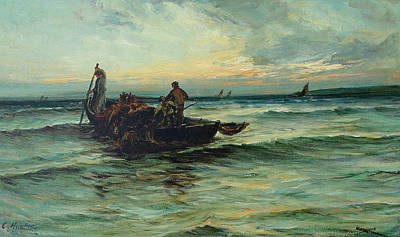 Boats In Reflecting Water Painting - Hauling In The Nets At Sunset by Colin Hunter