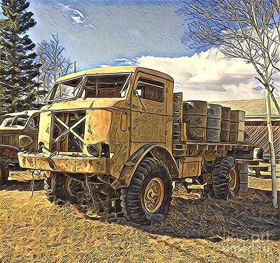 Digital Art - Hauling Oil Barrels On Old Canol Pipeline Project by Barb Cote