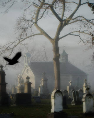Haunted Digital Art - Haunted Halloween Cemetery by Gothicolors Donna Snyder